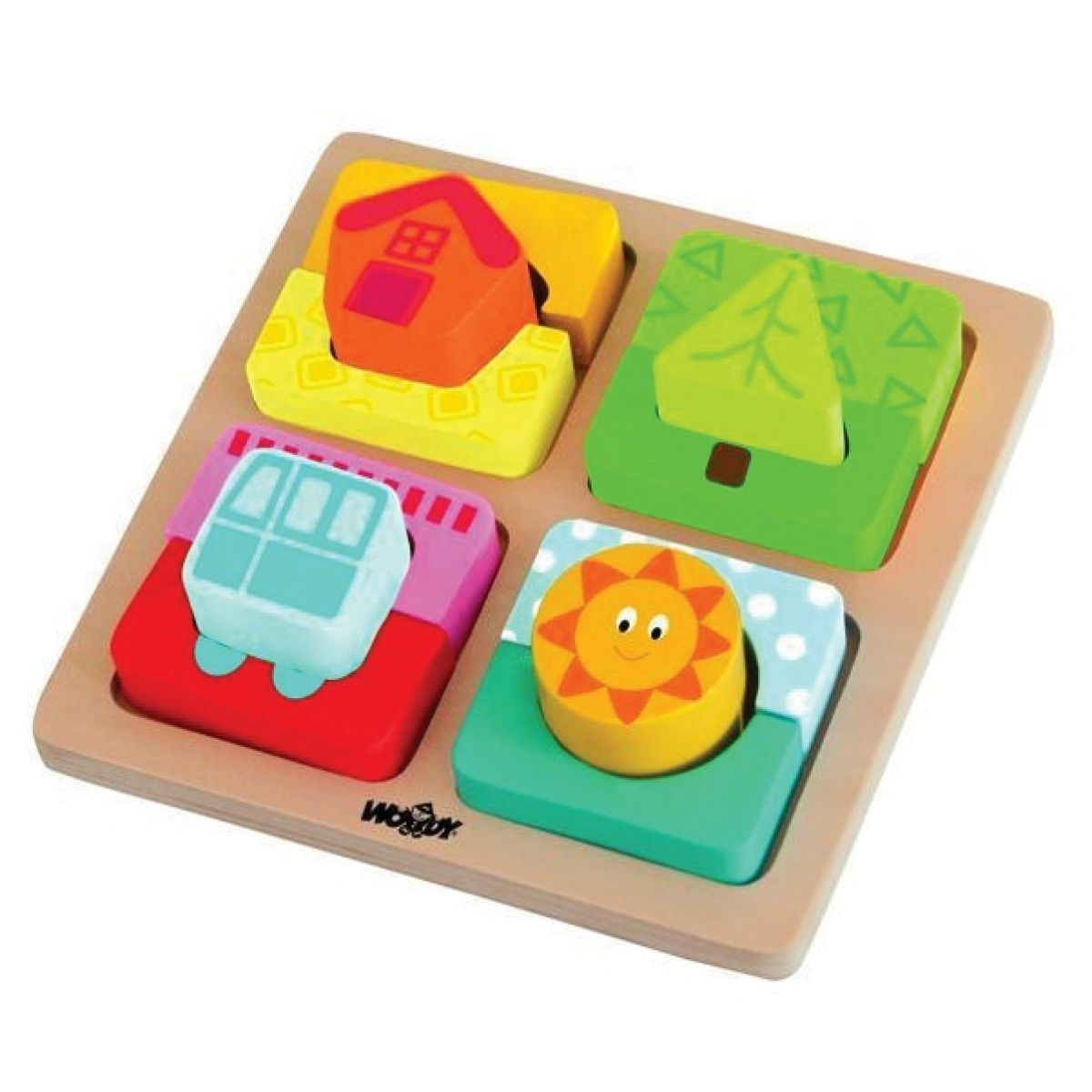 Woody Vkládačka puzzle tvary