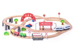 Woody Vláčkodráha s elektrickou mašinkou a viaduktem, 60 dílů