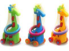 Žirafa plastová s kroužky na kolečkách