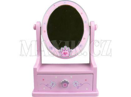 Zrcadlo dřevěné, ovál se zásuvkou - Korunka srdíčka