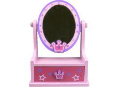Zrcadlo dřevěné, ovál se zásuvkou - Korunka hvězdy